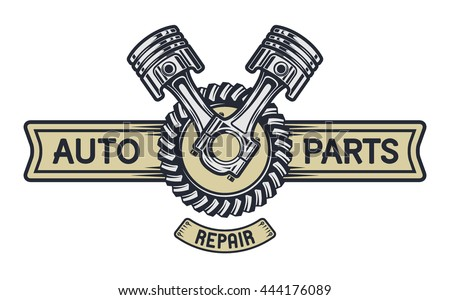Piston gear and space for text. Repair service emblem signboard. Illustration vector copy. - stock photo