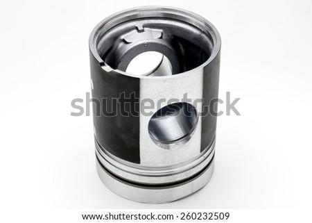 Piston upside down on the white background - stock photo