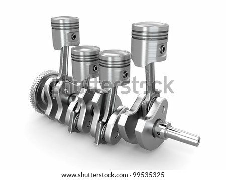 Pistons and crankshaft. four cylinder engine. 3d - stock photo