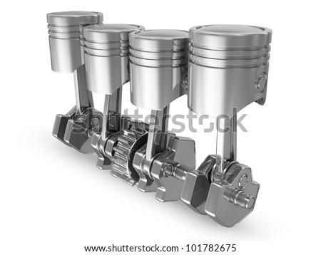 Pistons and Crankshaft isolated on white background (4 Cylinder Engine) - stock photo