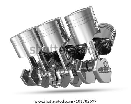 Pistons and Crankshaft isolated on white background ( V8 Engine) - stock photo