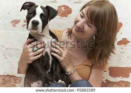 Pit Bull puppy listening to sounds - stock photo