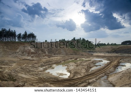 pit clay sand - stock photo