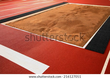 Pit for long jump - stock photo