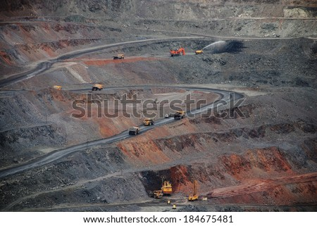 pit iron ore mining - stock photo