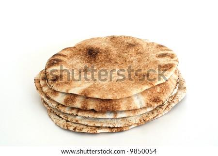 Pita bread isolated on white - stock photo