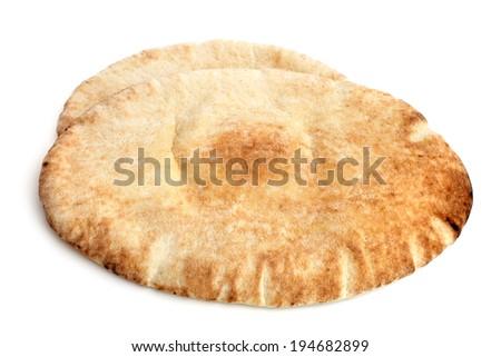 Pita bread on a white background - stock photo