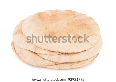 pita bread on white - stock photo