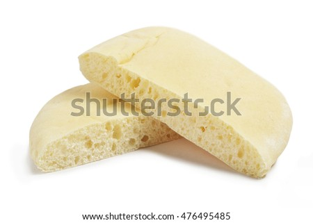 pita bread slices on a white background