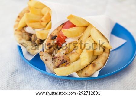 pita gyros -  greek pie - stock photo