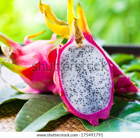 pitahaya with leaves - stock photo