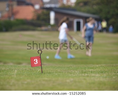 Pitch and putt golf, shallow depth of field. - stock photo