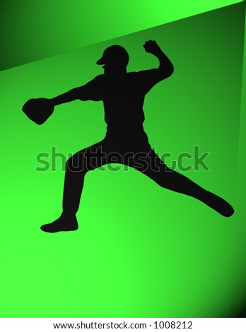 Pitcher about to throw a baseball. Silhouette. Black over green background.Illustration - stock photo