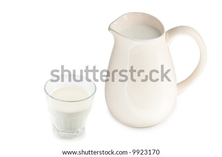 pitcher and glass of milk isolated