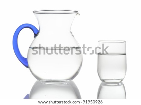 Pitcher and glass with water - stock photo