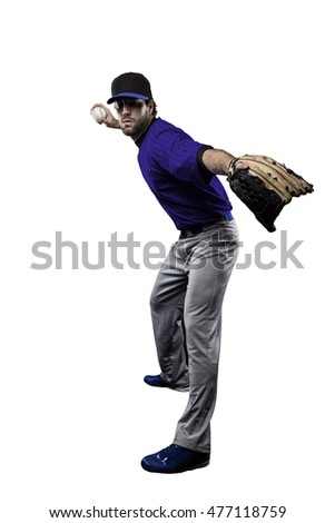 Pitcher Baseball Player with a blue uniform on a white background.