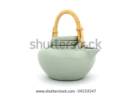 Pitcher in japanese style on white background. - stock photo