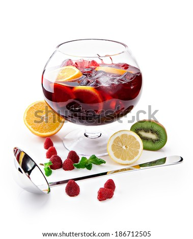 pitcher with a refreshing fruit punch on a white background  - stock photo