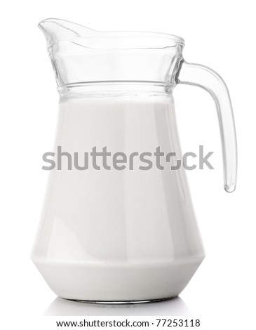 Pitcher with milk isolated on white - stock photo