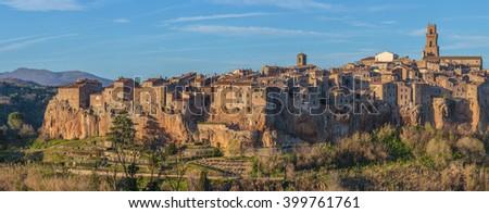 Pitigliano-Etruscan tuff city, Italy - stock photo