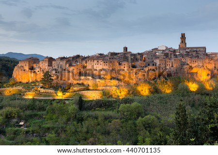 Pitigliano - medieval town after sunset, Tuscany, Italy - stock photo