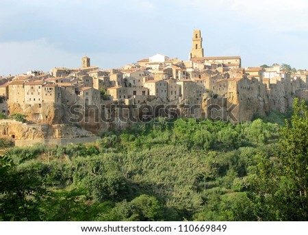 Pitigliano Tuscany village at sunset, Italy