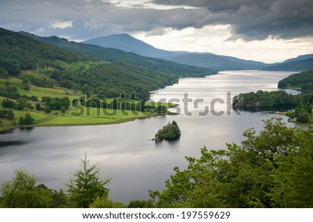 Pitlochry, View from Queens View on Loch Tummel, Scotland,  United Kingdom, - stock photo