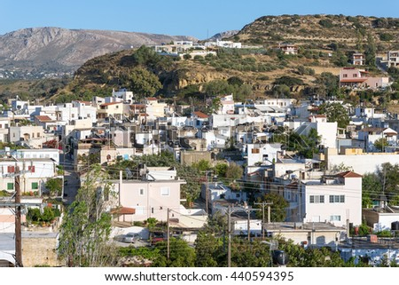 Pitsidia in the south central of Crete is located between the Ida mountains and the Asterousia mountains close to Matala and the Messara plain. A nice village who has kept his original character - stock photo
