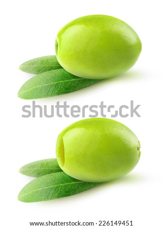 Pitted and whole green olives over white background, with clipping path - stock photo