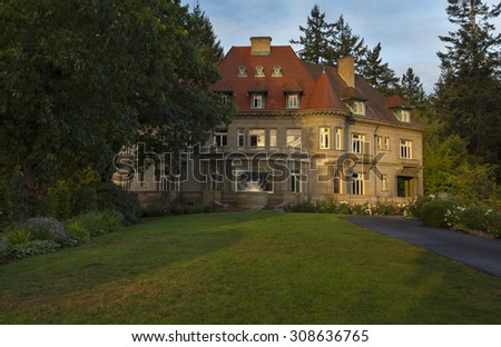 Pittock Mansion. August, 20 2015 - Portland, OR USA. Pittock mansion is a French Renaissance style building in the West Hills of Portland, OR. - stock photo