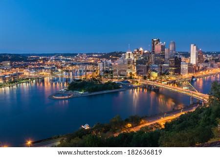 Pittsburgh downtown skyline at night, pennsylvania, USA. - stock photo