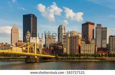 Pittsburgh downtown skyline by the river - stock photo