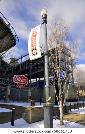 PITTSBURGH - JANUARY 10: Heinz Field will host the NFL Playoffs. Baltimore Ravens VS Pittsburgh Steelers on Saturday, January 15, 2011 at 4:30 pm. January 10, 2011, Pittsburgh Pennsylvania.