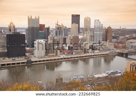 "PITTSBURGH - NOVEMBER 8, 2014: The Pittsburgh city skyline as seen from Grandview Avenue on November 8, 2014. Pittsburgh is known as ""the Steel City"" for its more than 300 steel-related businesses."