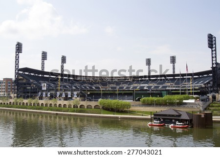 Pittsburgh, PA, USA - May 5, 2015 : PNC Park, home of the Pittsburgh Pirates, along waterfront of Allegheny River. - stock photo