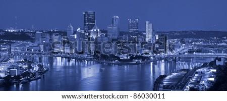 Pittsburgh. Panoramic image of Pittsburgh at night. - stock photo