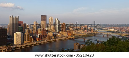 Pittsburgh. Panoramic image of Pittsburgh downtown skyline at sunset. - stock photo