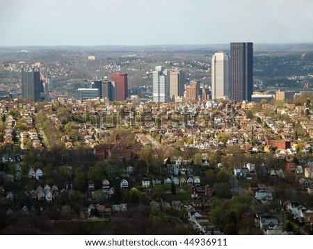 Pittsburgh Pennsylvania aerial on a partly cloudy day. - stock photo