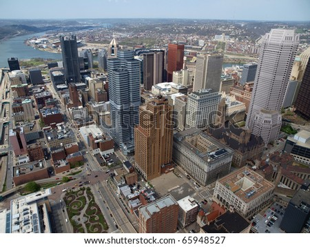 Pittsburgh Pennsylvania and the Ohio River from above. - stock photo