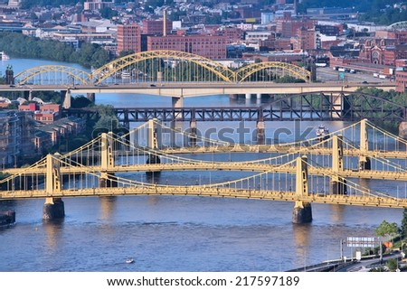Pittsburgh, Pennsylvania - city in the United States. City view with bridges Monongahela River. - stock photo