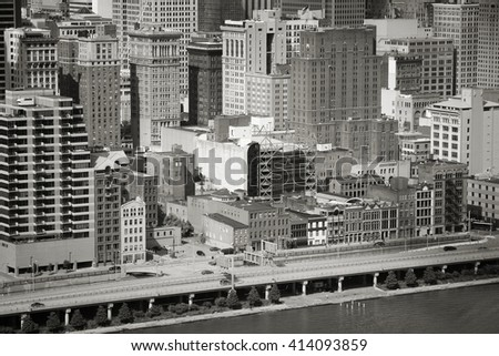 Pittsburgh, Pennsylvania - city in the United States. Cityscape with Monongahela River. Black and white vintage style. - stock photo