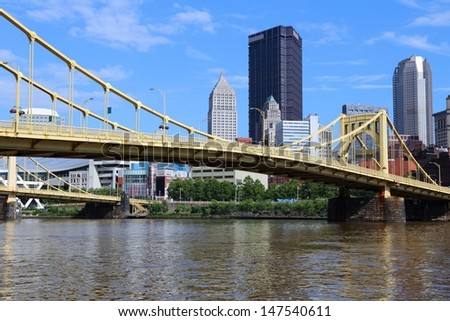 Pittsburgh, Pennsylvania - city in the United States. Skyline with Allegheny River. - stock photo