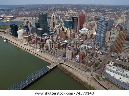 Pittsburgh, Pennsylvania downtown cityscape aerial. - stock photo