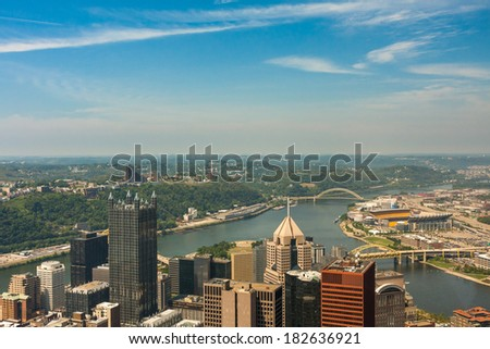 Pittsburgh, Pennsylvania - River view skyline from the tallest building in the city - stock photo