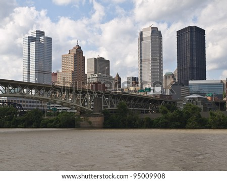 Pittsburgh Pennsylvania riverfront downtown cityscape aerial. - stock photo