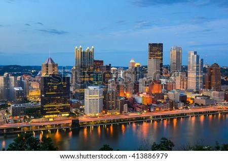 Pittsburgh, Pennsylvania, USA at dusk. - stock photo