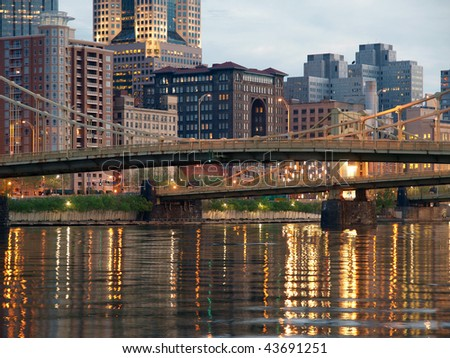 Pittsburgh's downtown waterfront and landmark bridges. - stock photo