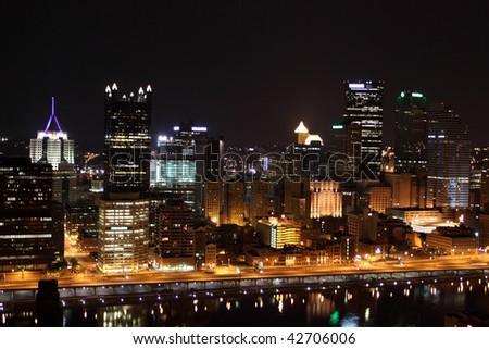 Pittsburgh skyline from Mount Washington at night - stock photo