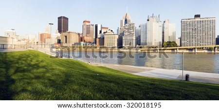 Pittsburgh skyline late afternoon. Pittsburgh, Pennsylvania,  - stock photo