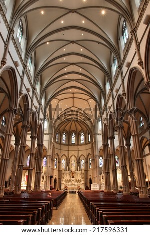 PITTSBURGH, USA - JUNE 30, 2013: Interior view of Saint Paul Cathedral in Pittsburgh. The Gothic Revival building was completed in 1906 and is the motherchurch of Roman Catholic Diocese of Pittsburgh.